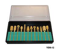Набор насадок для фрезера 12шт металл-золото YRE YDM-12