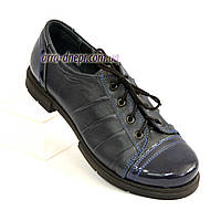 Туфли женские закрытые кожаные на шнуровке с вставками из лаковой кожи, синий цвет., фото 1
