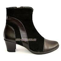 Женские зимние ботинки на невысоком устойчивом каблуке, натуральная кожа и замша, фото 1