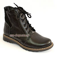 Женские кожаные демисезонные ботинки на шнуровке., фото 1