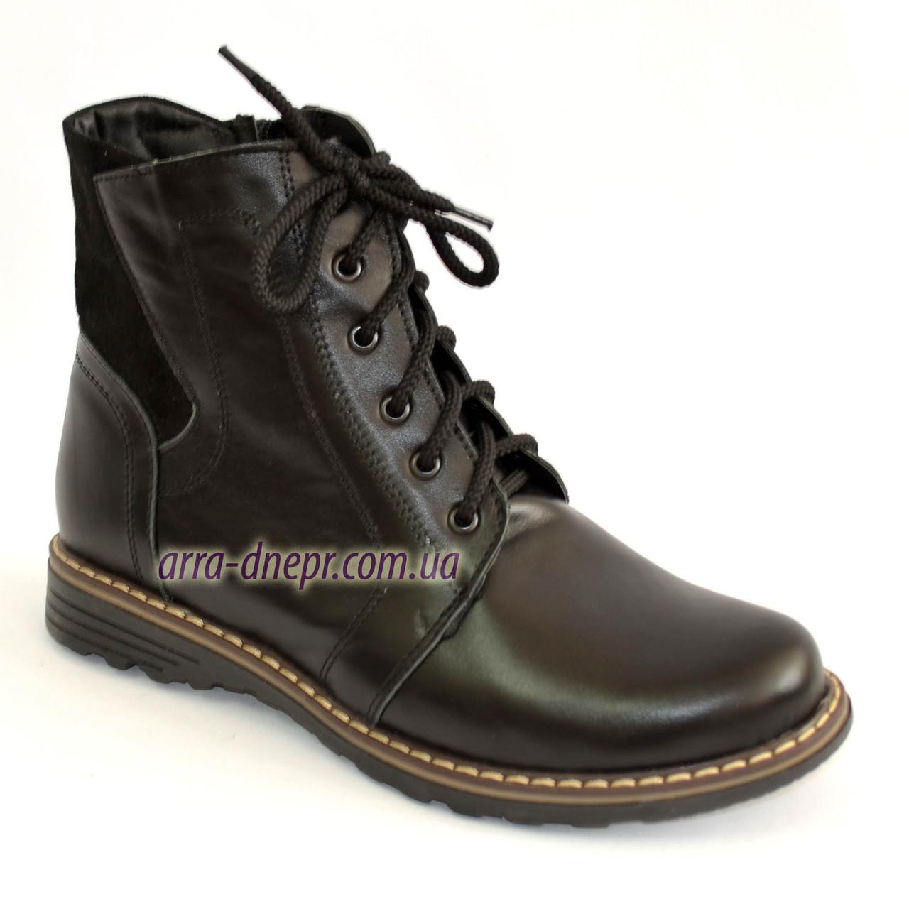 Женские кожаные демисезонные ботинки на шнуровке.
