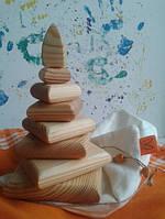 Развивающая пирамида в мешочке для детей из натурального дерева