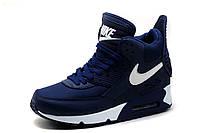 Кроссовки высокие Найк Air Max, темно-синие с белым, фото 1