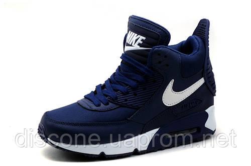 Кроссовки высокие Найк Air Max, темно-синие с белым