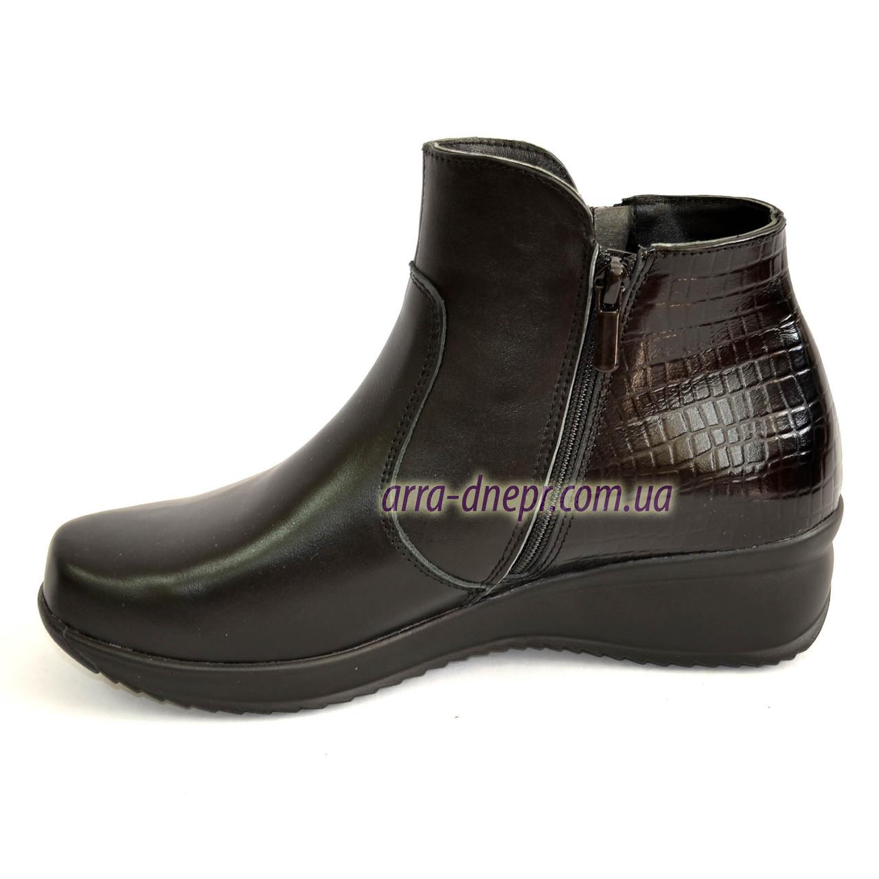 23602b55c ... Женские демисезонные ботинки на невысокой танкетке, натуральная кожа,  ...