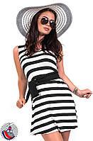 Платье белое в широкую черную полоску с пояском. Арт-2587/36
