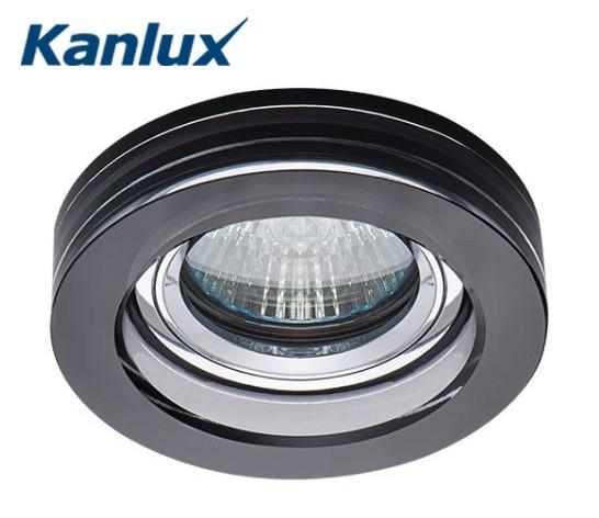 Встраиваемый точечный светильник Kanlux Morta 1хMR16 Ø90х20, черное стекло, металл