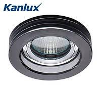 Встраиваемый точечный светильник Kanlux Morta 1хMR16 Ø90х20, черное стекло, металл, фото 1