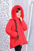 """Зимняя курточка для девочки """"Бант"""" красная"""