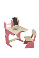 Детская парта со стульчиком и мольбертом розовая