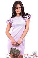 Платье сиреневое с рюшами на плечах. Арт-2591/36