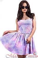 Платье сиреневое с узорами выше колен. Арт-2593/36