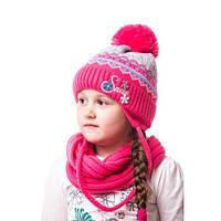 Теплая вязаная детская шапочка на девочку с надписью