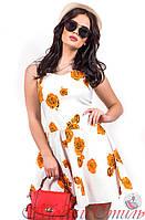 Платье белое с оранжевыми розами выше колен. Арт-2594/36