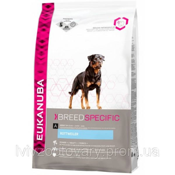 Корм для собак EUKANUBA Adult Rottweiler 12 кг для породы ретвейлер