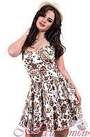 Платье белое с коричневыми узорами цветы выше колен. Арт-2595/36