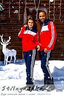 Теплый спортивный костюм мужской и женский Адидас синий с красным