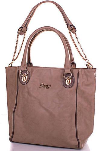 Женская изысканная сумка из качественного кожезаменителя GUSSACI (ГУССАЧИ) TUGUSB13-0095-12 (бежевый)