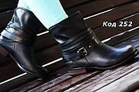 Ботинки женские черные(старое золото) ковбойки. Польша