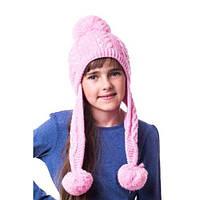 Теплая вязаная детская шапочка на девочку в жемчужинках с помпонами