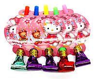 """Язычок гудок карнавальный """"Hello Kitty"""". В упак: 5 шт."""