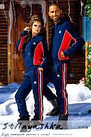 Теплый спортивный костюм мужской и женский Adidas синий с красным