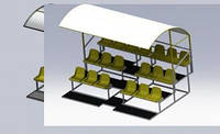 Трибуна 3-х рядная 19 мест с навесом