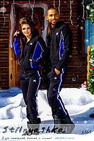 Теплый спортивный костюм мужской и женский Adidas черный с индиго