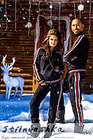 Теплый спортивный костюм мужской и женский Adidas черный с полосками