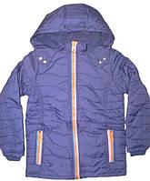 Подростковые удлиненные куртки для девочек на флисовой подкладке и синтепоне 134-140 - синий.