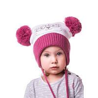 Теплая детская шапочка на девочку с кошечкой из камней