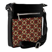 Черная сумка Покет с принтом Красные ромбы