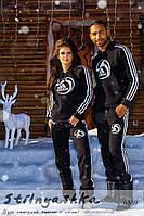 Теплый спортивный костюм мужской и женский Adidas лого черный