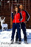 Спортивный теплый костюм мужской и женский Адидас синий с красным