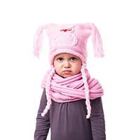 Модная вязаная детская шапочка на девочку с совой и кисточками