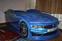 """Детская кровать машина """"BMW"""" синяя с матрасом"""