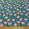 Фланель (байка) ш.150 розовые и голубые цветы на черном фоне