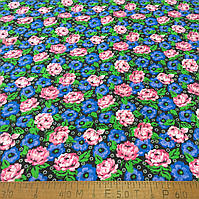 Фланель (байка) ш.150 розовые и голубые цветы на черном фоне, фото 1