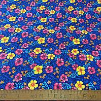 Фланель (байка) ш.150 розовые и желтые цветы на синем фоне, фото 1