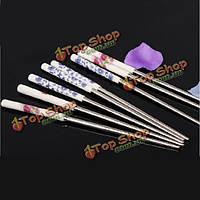 Нержавеющая сталь палочки для еды керамические ручки посуды