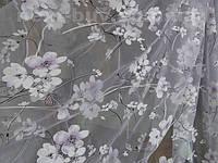 Тюль органза Сакура - печать белый с сиреневым