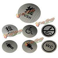 Круговой круглые серебряные туалеты паб дверь магазина знак уведомления