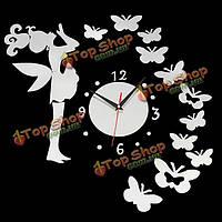 DIY фея бабочка акриловая стикер настенные часы домашнего украшения