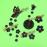 3D зеркало настенные часы домашнего украшения бабочка сливы часы