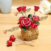 Роза цветок корзины фруктовые вилки установить закуска вилка кухонные принадлежности