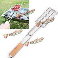 Барбекю инструменты барбекю гриль деревянная ручка зажим сосиски овощи