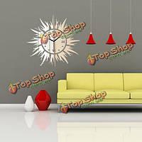 3D DIY солнце форма зеркала настенные часы настенные стикеры современного домашнего декора