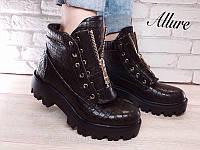 Ботинки Balmain зима/весна-осень кожаные красные и черные AL0024