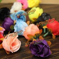 10шт 8 цветов моделирования головок цветков роз шелка цветов искусственное художественное оформление