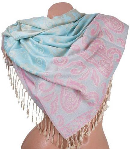 Шикарный женский двусторонний палантин из пашмины 176 на 70 см ETERNO ES2707-8-2 розовый